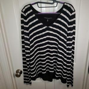 WHBM Women's Black & White Striped Sweater EUC